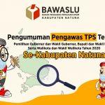 Pengumuman Pengawas TPS Terpilih Se-Kabupaten Natuna, Pilkada Tahun 2020